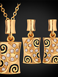 U7® Women's 18K Real Gold Platinum Plated Pendant Earrings Choker Necklace Rhinestone Jewelry Sets