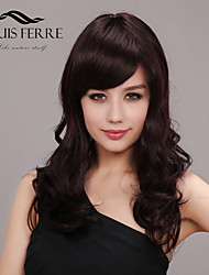 Temperament Capless Medium Length Curly Human Hair Wigs with Side Bang
