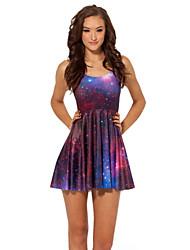De las mujeres Línea A Vestido Sexy / Discoteca Galaxia Mini Poliéster