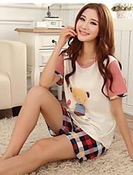 Women's Knitted Cotton Comfortable Leisure Wear Short-Sleeved Dress