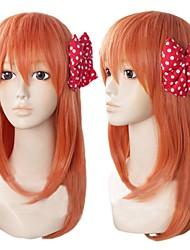 Angelaicos  Women Medium Orange Lolita Cosplay Costume Bob Wigs for Gekkan Shoujo Nozaki-kun Chiyo Sakura 2 Bowknots