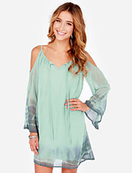 Women's Off The Shoulder Sexy/Beach/Casual V Neck Chiffon Dress