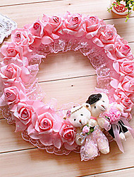 "13.8"" Rural Style Pink Simulation Flower Garland with Toy Bears Plastic Circle Garland"