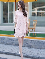 QianZiMing® Women's Graceful Half Sleeve Loose Straight Howllow out Floral Lace Dresses