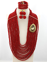 26inches Long Crystal Party Beads Jewelry Set Fashion African Beads Bridal Necklace Set