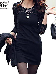 Women's Tallas Grandes Lace Splicing Cut Out Long Sleeve Slim Dresses