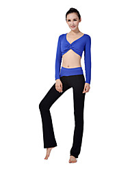 Mujer Yoga Trajes Mangas largas Azul Yoga M / L / XL