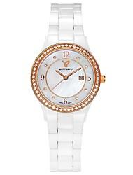 Montre cadran de diamant circulaire en céramique bande quartz mécanisme de poignet de la femme wutterfly (couleurs assorties)