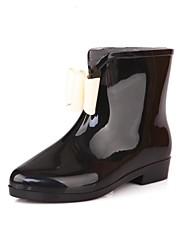 Women's Shoes Rubber Flat Heel Rain Boots/Round Toe Boots Outdoor Black/Pink/Beige