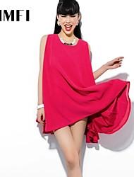 Women's Red Dress , Work Sleeveless