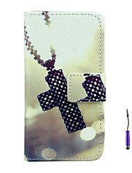 The Cross Pattern PU Leather Case with A Touch Pen ,Stand and Card Holder for LG L90