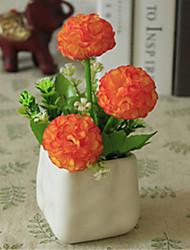 hygrangeas laranja artificial flores com vaso