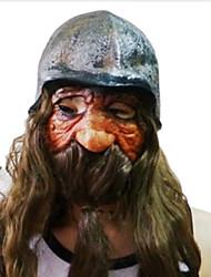 Long Beard Dwarf with Helmet Latex Mask for Halloween