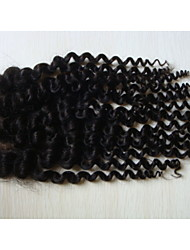 "16""Kinky Curly Brazilian Virgin Hair Hair Pieces Lace Closure 4""x4""  Free Style 1Pc Natural Colour"