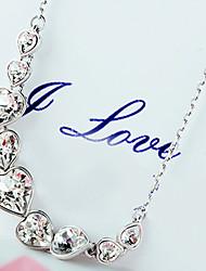 sencillo collar rhinestone de la forma del corazón brillante de la mujer ptz