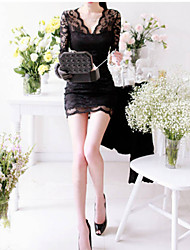 MOON Women's New Korean Lace Sexy V-neck Long Sleeve Bottoming Dress Bottoming Shirt