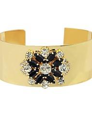 Latest Design Gold Plated Rhinestone Connect Wide Cuff Bracelets