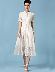 TS Vintage Work Inelastic Short Sleeve Midi Dress (Lace)