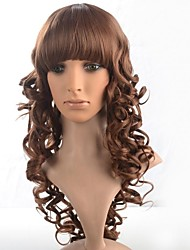Capless Lady's Medium Length Brown Curly Wig with Full Bang