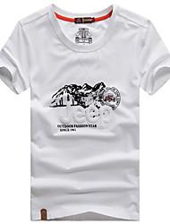 toevallige pure korte mouw regelmatige t-shirts voor mannen (katoen)