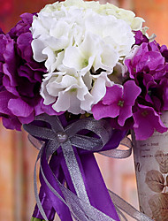 Wedding Bouquet Wedding Bride Holding Flowers,Silk Colth Simulation Hydrangea,Purple and White