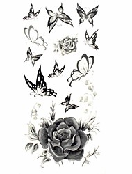 1pc Women's Waterproof Temporary Tattoos leg/Arm/Wrist Tattoos Glitter Grey Rose Butterfly Body Tattoos(18.5cm*8.5cm)