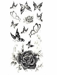 многоцветный - Тату с цветами - Временные тату - для Женский/Взрослый/Подростки - 1 - 18.5*8.5cm - С рисунком/Нижняя часть спины/Waterproof - Бумага