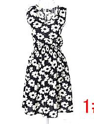 25 tipo! nova marca 2.015 mulheres verão vestido de chiffon de moda de impressão sem mangas vestidos casuais partido cintura elástica navio livre