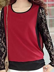 Camiseta (Renda/Algodão/Elastano) Casual/Renda/Tamanhos Grandes - Média - Normal