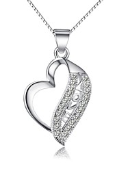 Fashion Shining Ladies' Silver Necklace With Crystal Love