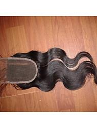 """14"""" 4x4"""" Brazilian Human Hair Lace Closure Left Part Body Wave Hair Piece Closure Natural Colour"""
