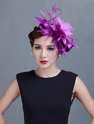 Women Wedding/Party Satin Fascinator with Feathers