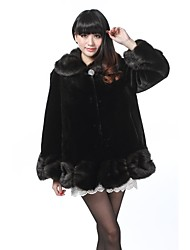 Fur Coats/Jackets Long Sleeve Faux Fur Jackets Black