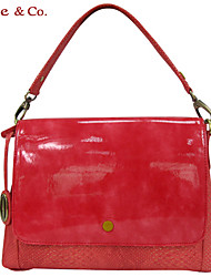 Kate&Co.® Women's Red Pvc Italian Style Luxury Mirror Face Shoulder Bag