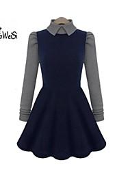 Women's Dress , Cotton Blends Mini Long Sleeve