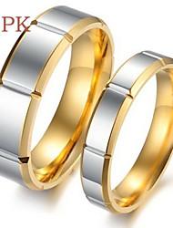 Ringe Hochzeit / Party / Alltag / Normal / Sport Schmuck Titanstahl Paar Eheringe 2 Stück,5 / 6 / 7 / 8 / 9 / 10 Goldfarben