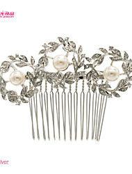 Neoglory Jewelry with Imitation Pearl and Clear Rhinestone Hair Comb Pin for Wedding Lady Daily/Pageant