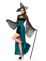 Deluxe Black Lace and Green Satin Adult Women's Witch Costume