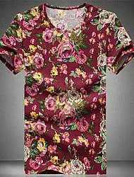 ronde kraag bloemenprint lange mouwen slanke t-shirts voor mannen (meer kleuren)