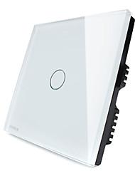 livolo maison intelligente, 1 poste 2 voies uk interrupteur tactile avec indicateur LED, panneau de verre de cristal blanc