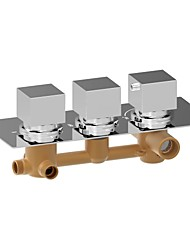 ChromeH Square Triple Handle Thermostatic Rainfall Shower Mixer Valve