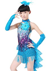 Latin Dance Children's Polyester/Lycra Sequins Tassel Outfit Including Dress/Neckwear/Gloves(Red/Blue/Yellow) Kids Dance Costumes