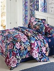 H&C ® High-End 100% Long-Stampled  Cotton Duvet Cover Set  4 -Piece Floral Pattern  European Style  HT130