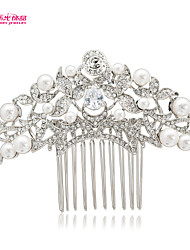 2015 New Neoglory Jewelry Imitation Pearl and Drop Clear Zircon Rhinestone Rose Hair Comb for Lady's/Party/Daily