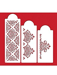 quatro c flor estêncil para a decoração do bolo decoração lado cor branca, 3 pcs / set