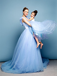 Formal Evening Dress - Sky Blue Ball Gown Off-the-shoulder Chapel Train Satin/Tulle