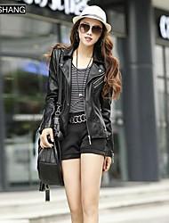 color sólido de manga larga ropa exterior de cuero básico de bs®women