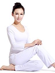 blanco elegante traje de yoga de manga larga