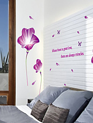 Wall Stickers Wall Decals, Style Purple Flowers Blooming Like A Piece of Brocade PVC Wall Stickers