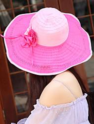 Women Straw Fashion Flowers Beach Floppy Hat,Cute / Party / Casual Spring / Summer / Fall